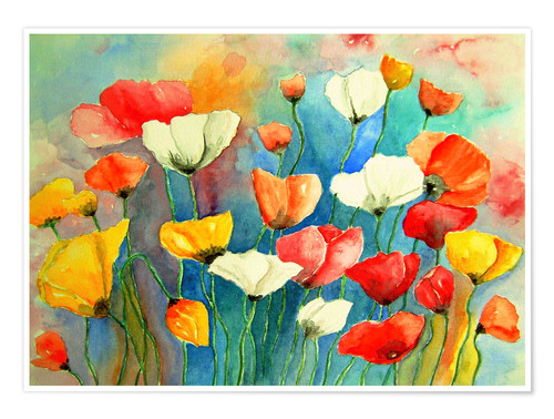 Premium poster Colorful poppies