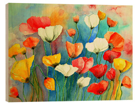Wood  Colorful poppies - siegfried2838