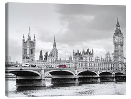 Canvas print  Westminster bridge with look at Big Ben and House of parliament - Edith Albuschat