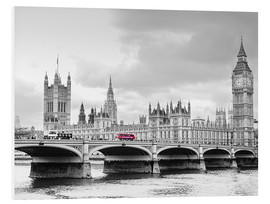 Foam board print  Westminster bridge with look at Big Ben and House of parliament - Edith Albuschat