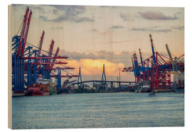 Wood print  Container terminal Hamburg Harbour - Dennis Stracke