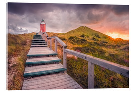 Acrylic print  Dawn at lighthouse 'Red Cliff' (Kampen / Sylt) - Dirk Wiemer