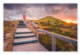 Premium poster Dawn at lighthouse 'Red Cliff' (Kampen / Sylt)
