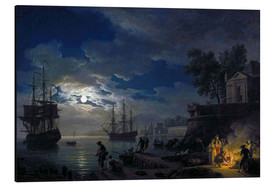 Aluminium print  Night: Port in the moonlight - Claude Joseph Vernet