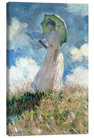 Canvas print  Woman with parasol turned to the left - Claude Monet