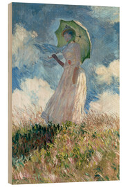 Wood print  Woman with parasol turned to the left - Claude Monet