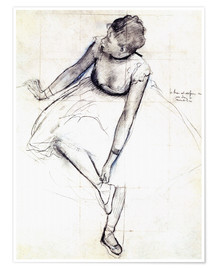 Poster  Dancer adjusting her shoe - Edgar Degas