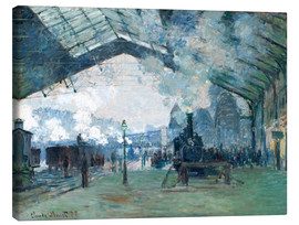Canvas  Gare de Saint Lazare: the train from Normandy - Claude Monet