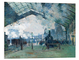 Foam board print  Saint Lazare Train Station: the train from Normandy - Claude Monet