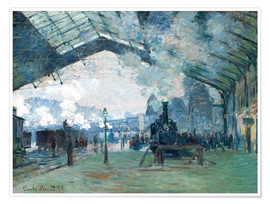 Premium poster  Saint Lazare Train Station: the train from Normandy - Claude Monet