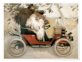 Premium poster  Casas and Romeu in an automobile - Ramon Casas i Carbo