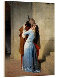 Wood print  The kiss - Francesco Hayez