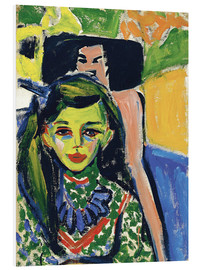 Foam board print  Fränzi in front of a carved chair - Ernst Ludwig Kirchner