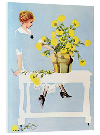 Foam board print  Housekeeper with bouquet - Clarence Coles Phillips