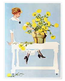 Premium poster  Housekeeper with bouquet - Clarence Coles Phillips