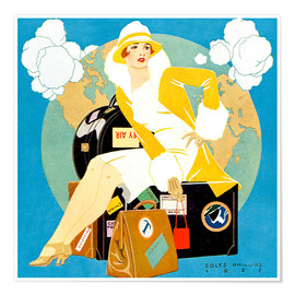 Premium poster  traveling Lady - Life magazine 1927 - Clarence Coles Phillips