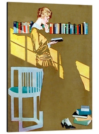 Aluminium print  Reading in front of the bookshelf - Clarence Coles Phillips