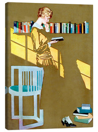 Canvas print  Reading in front of the bookshelf - Clarence Coles Phillips
