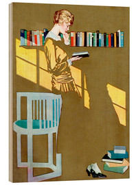 Wood print  Reading in front of the bookshelf - Clarence Coles Phillips