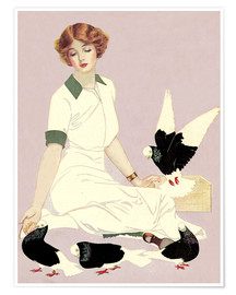 Premium poster  Woman with Pigeons - Clarence Coles Phillips