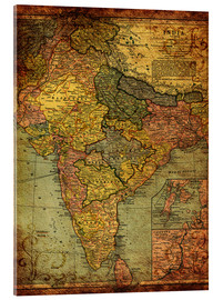 Acrylic print  India 1903 - Michaels Antike Weltkarten