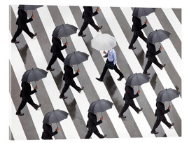 Acrylic print  Man with umbrella and suit runs as a loner against the tide - Jan Christopher Becke