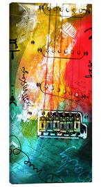 Canvas  guitar music colorful collage rock n roll - Michael artefacti