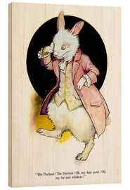 Wood print  The rabbit of Alice