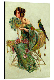 Aluminium print  The lady with the parrot