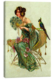 Canvas print  The lady with the parrot