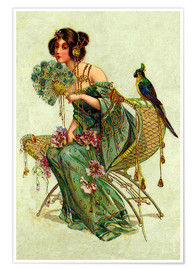 Premium poster  The lady with the parrot