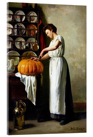 Acrylic print  Carving the pumpkin - Franck Antoine Bail