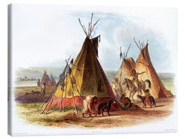 Canvas  Camp of Native Americans