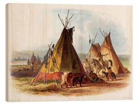 Wood print  Camp of Native Americans - Karl Bodmer