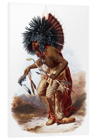 Foam board print  Indians with blue feathered headdress - Karl Bodmer