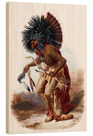 Wood print  Indians with blue feathered headdress - Karl Bodmer