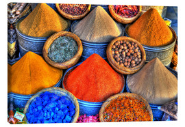 Canvas  Colorful oriental spices on the bazaar in Marrakech - HADYPHOTO by Hady Khandani