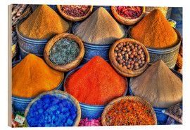 Wood print  Colorful oriental spices on the bazaar in Marrakech - HADYPHOTO