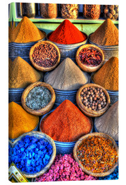 Canvas  Colorful spices on the bazaar in Marrakech - HADYPHOTO by Hady Khandani