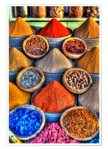 Premium poster Colorful spices on the bazaar in Marrakech