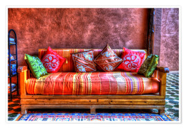 Premium poster  Oriental sofa in Tinghir, Morocco - HADYPHOTO