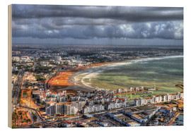 Wood print  View over the beach at Agadir - HADYPHOTO