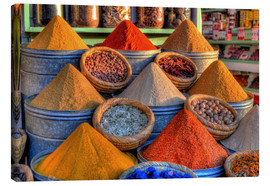Canvas  Oriental spices on the bazaar in Marrakech - HADYPHOTO by Hady Khandani