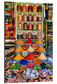 Aluminium print  Spices on a bazaar in Marrakech - HADYPHOTO by Hady Khandani