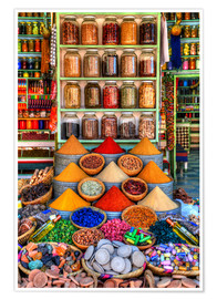 Premium poster Spices on a bazaar in Marrakech