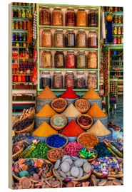 Wood print  Spices on a bazaar in Marrakech - HADYPHOTO