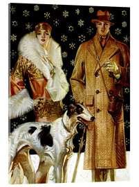 Acrylic print  Couple with Greyhound - Joseph Christian Leyendecker