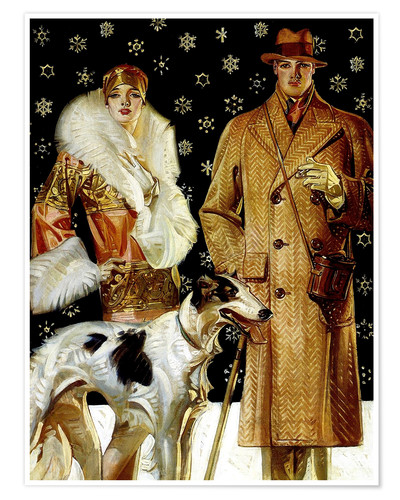 Premium poster Couple with Greyhound