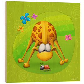 Wood print  Giraffe with beetle - Tooshtoosh