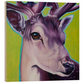 Wood print  deer green - Renate Berghaus